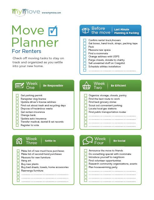Eloquent image within printable moving checklist and planner