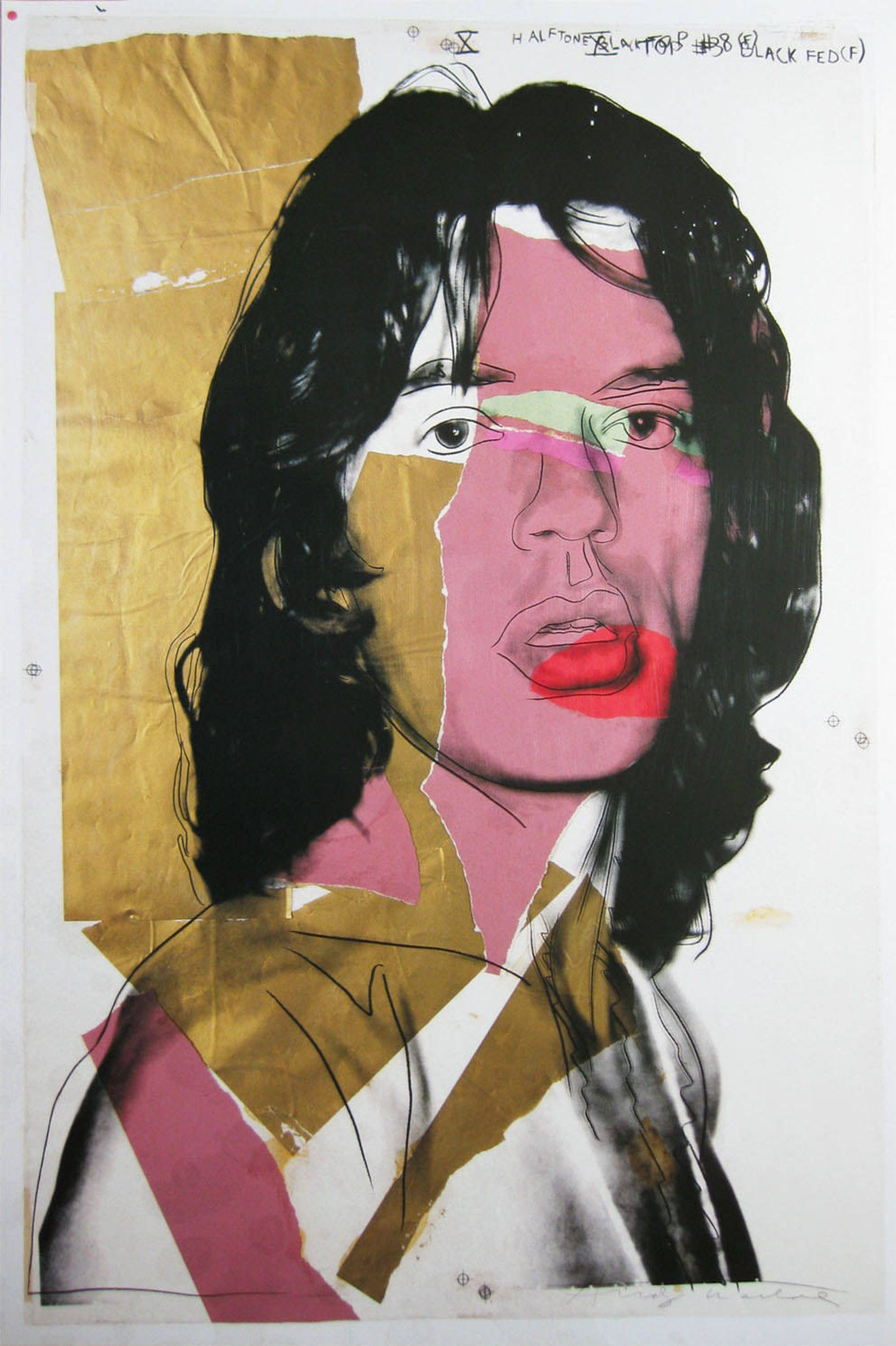 Andy Warhol -  Mick Jagger 1975  - Rolling Stones, Original Poster Plate signed #andywarhol