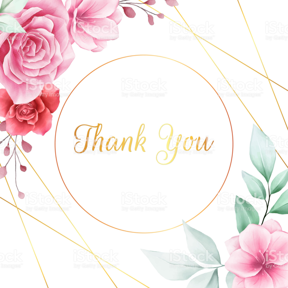 romantic thank you card with flowers decoration and golden
