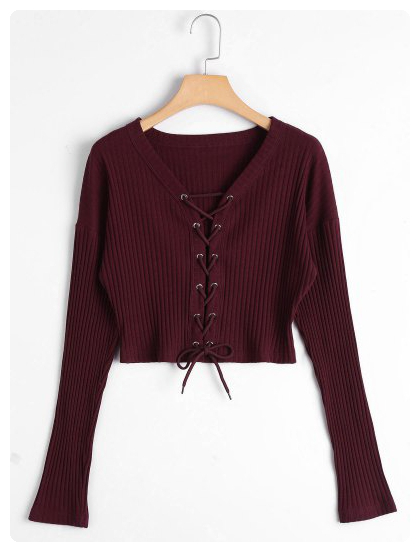 baae348bd8 Lace Up Knitted Crop Tee (Claret)