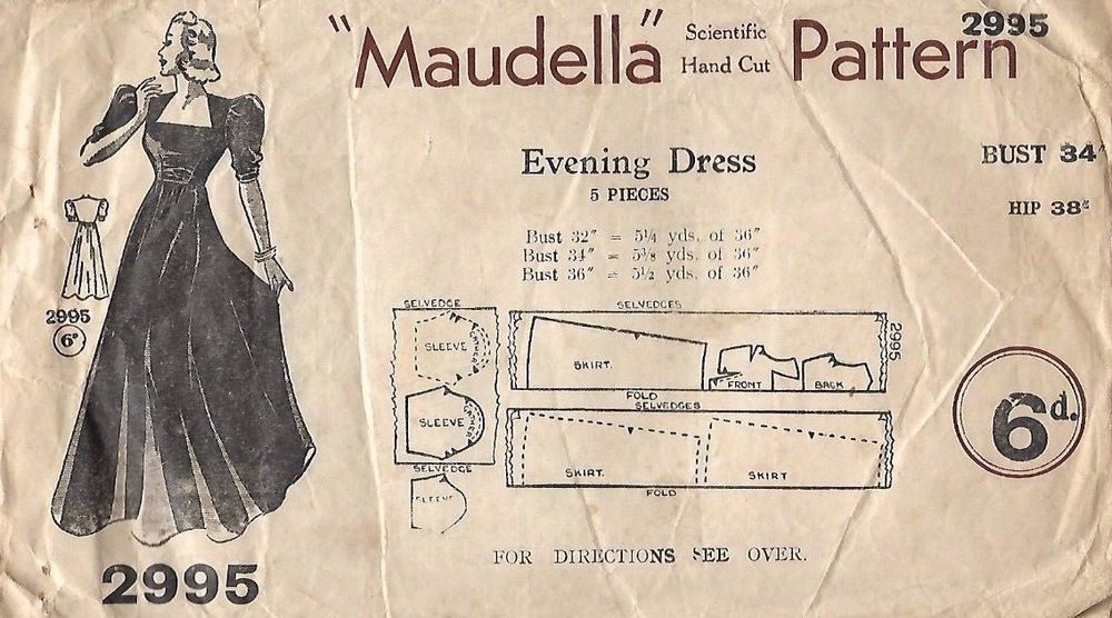 Vintage 1940\'s Ball Gown Evening Dress Reproduction Sewing Pattern B ...