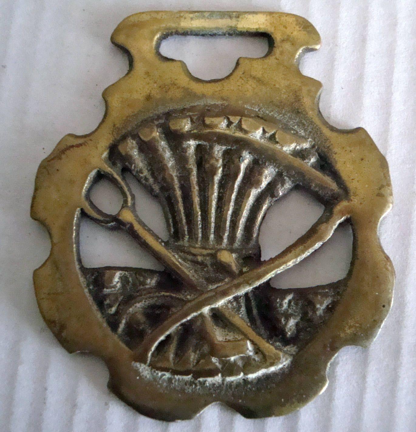 Vintage Horse Brass Tacklivery Medallion Wheatsheaf With Scythe