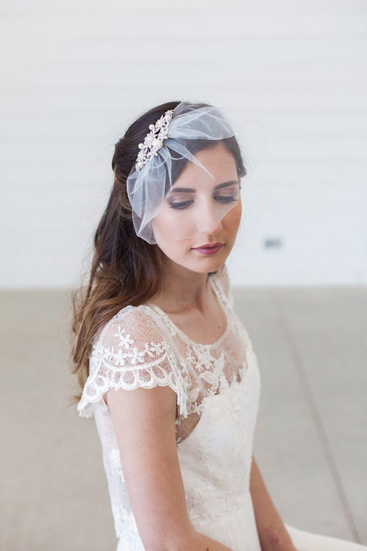 mini veil Birdcage veil small veil bridal headband flower birdcage veil wedding veil tulle veil,wedding hair piece ivory blusher veil