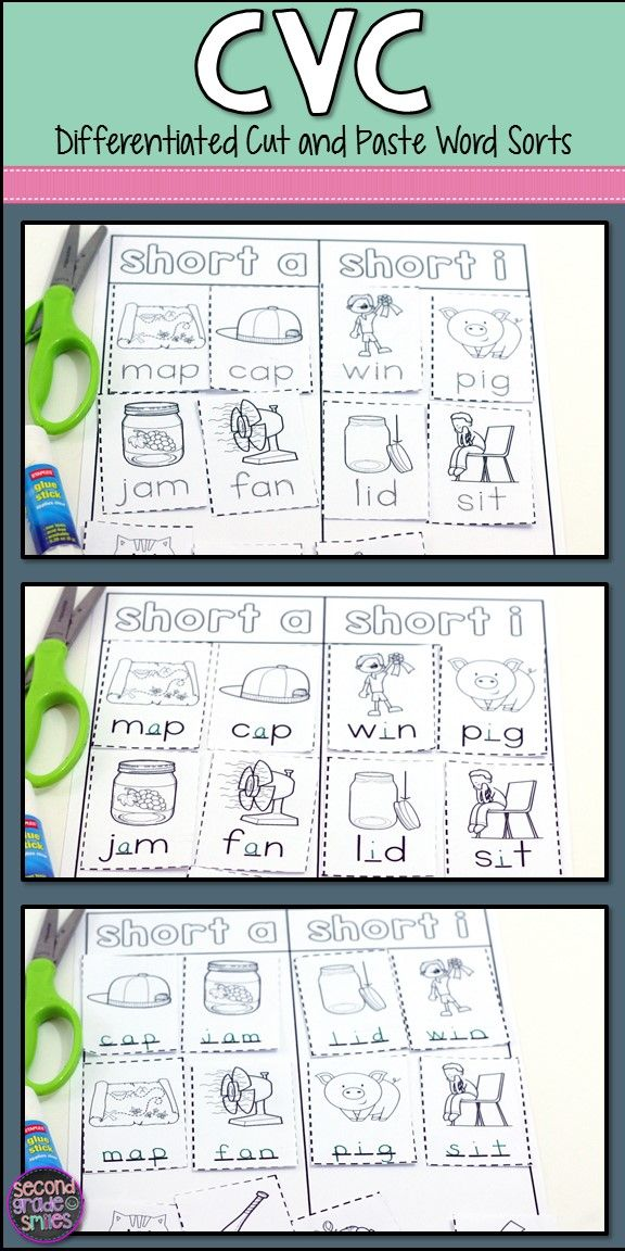 CVC Cut and Paste Word Sorts   Word work centers, Vowel sounds and ...