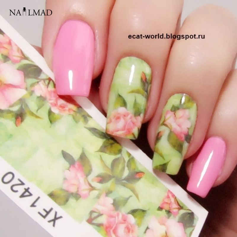 1 Sheet Nail Water Decals Chic Floral Transfer Stickers Flowers Nail