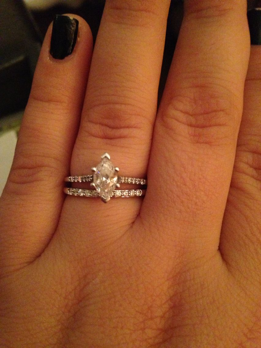My Marquise Solitaire Engagement Ring On A Pave Band With A Pave