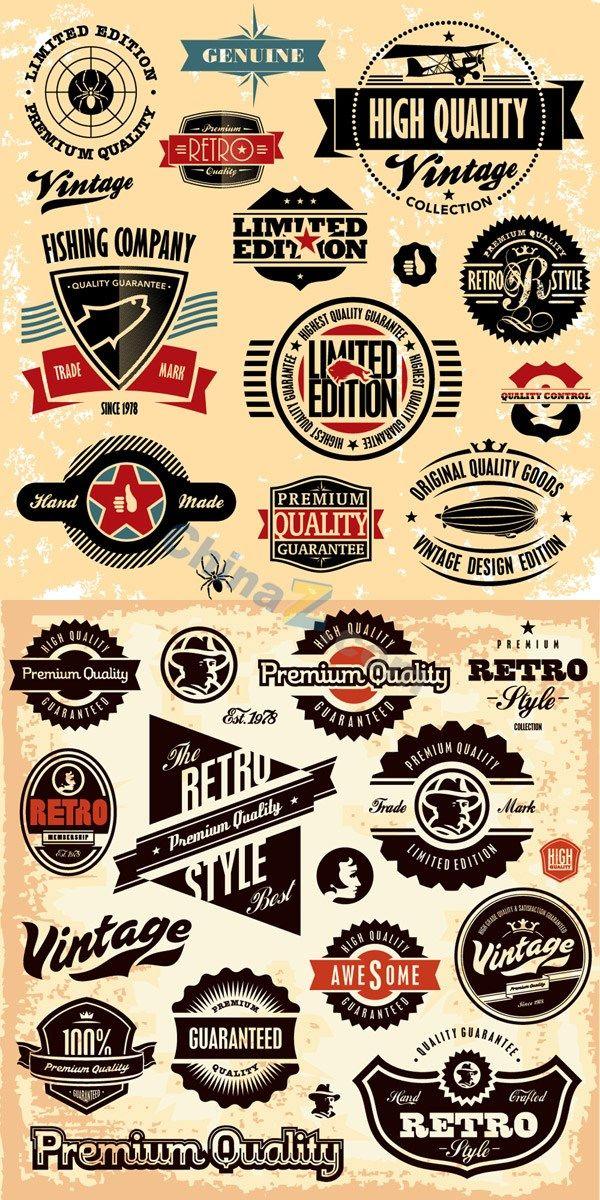 Retro Label Stickers And Badges Vector Vintage Logo Design Retro Logos Vintage Logo