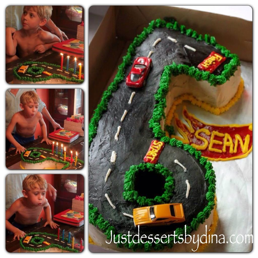 Racetrack cake for a very special 6 year old boy.  Justdessertsbydina.com  Like us on Facebook. Just Desserts by Dina