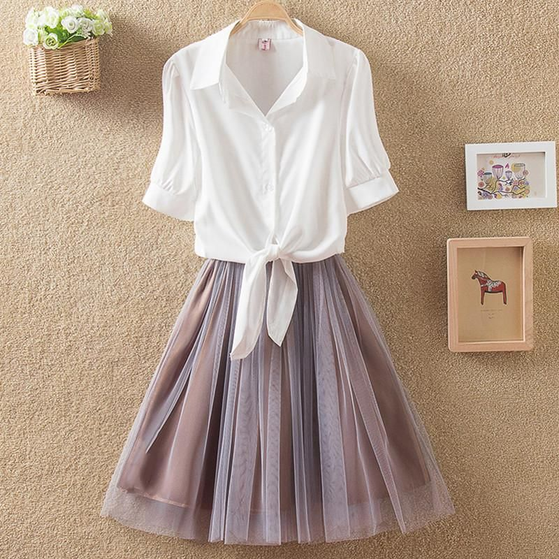 fc43fc79a Korea fashion shirt skirt two-piece outfit AD0006 in 2019 | Tees ...