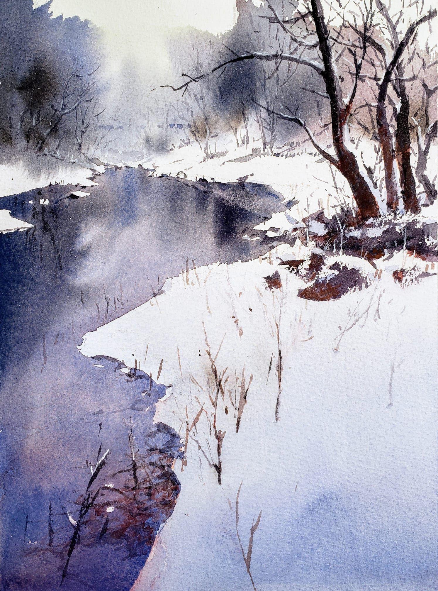Yong Hong Zhong March 2019 Winter Watercolor Winter Landscape