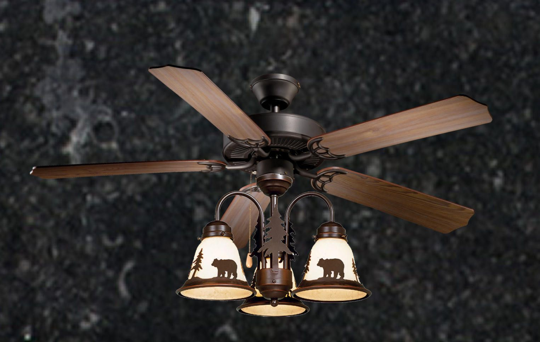 52 Lodge Rustic Cabin Country Ceiling Fan W Light Kit Bear Moose Deer Pinetree Rustic Ceiling Fan Ceiling Fan Rustic Ceiling