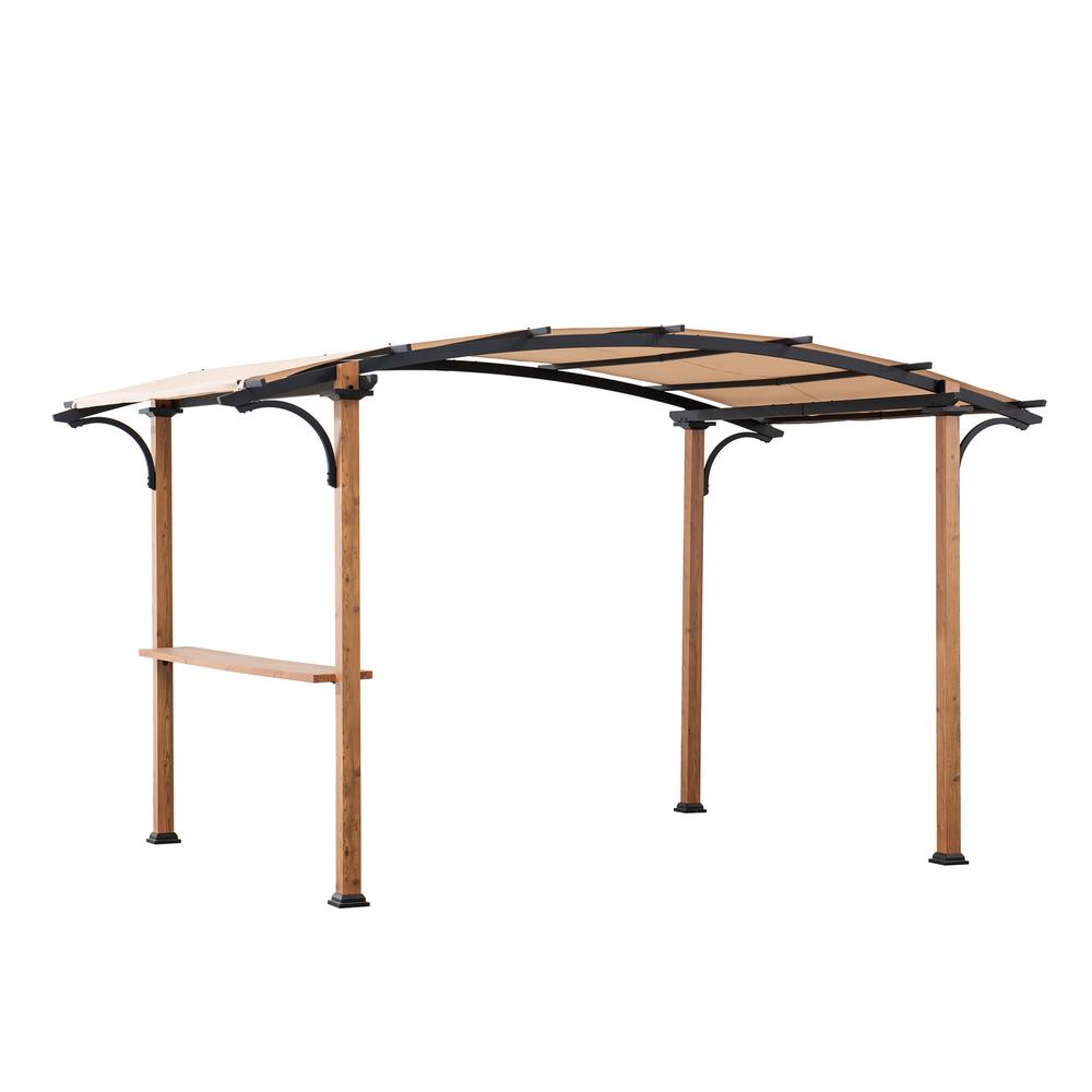 Sunjoy Alamo 10 Ft X 7 5 Ft Steel Arched Pergola With Natural Wood Looking And Tan Shade 169391 The Home Depot In 2020 Grill Gazebo Steel Pergola Gazebo