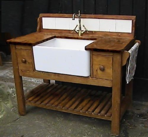 Kitchen Worktops Freestanding: Shaker Style Belfast Sink Kitchen Unit Complete W/top Taps