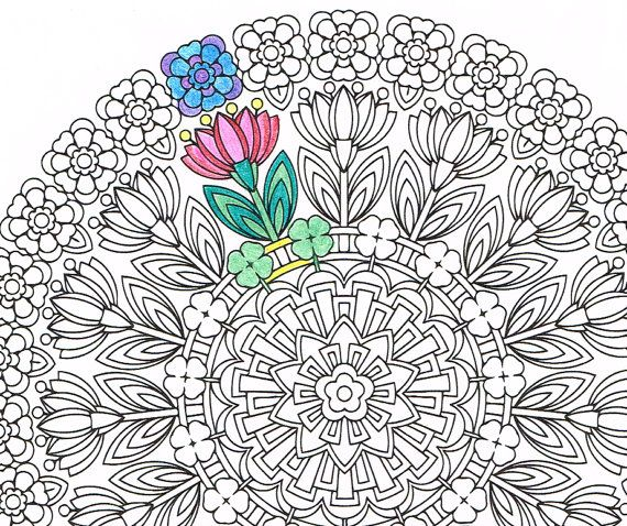 mandala coloring page spring renewal printable coloring for adults and big kids get well. Black Bedroom Furniture Sets. Home Design Ideas