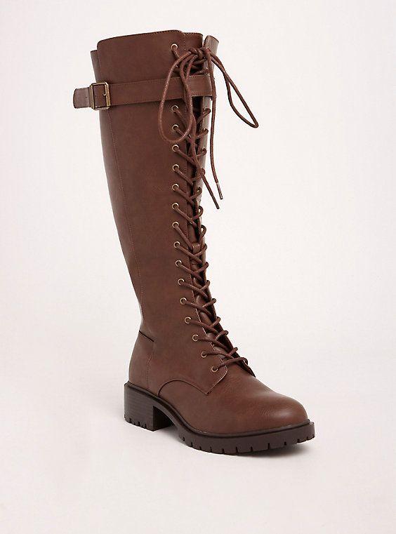 c9e4cd2b7ce Plus Size Lace Up Knee-High Combat Boots (Wide Width   Wide Calf ...