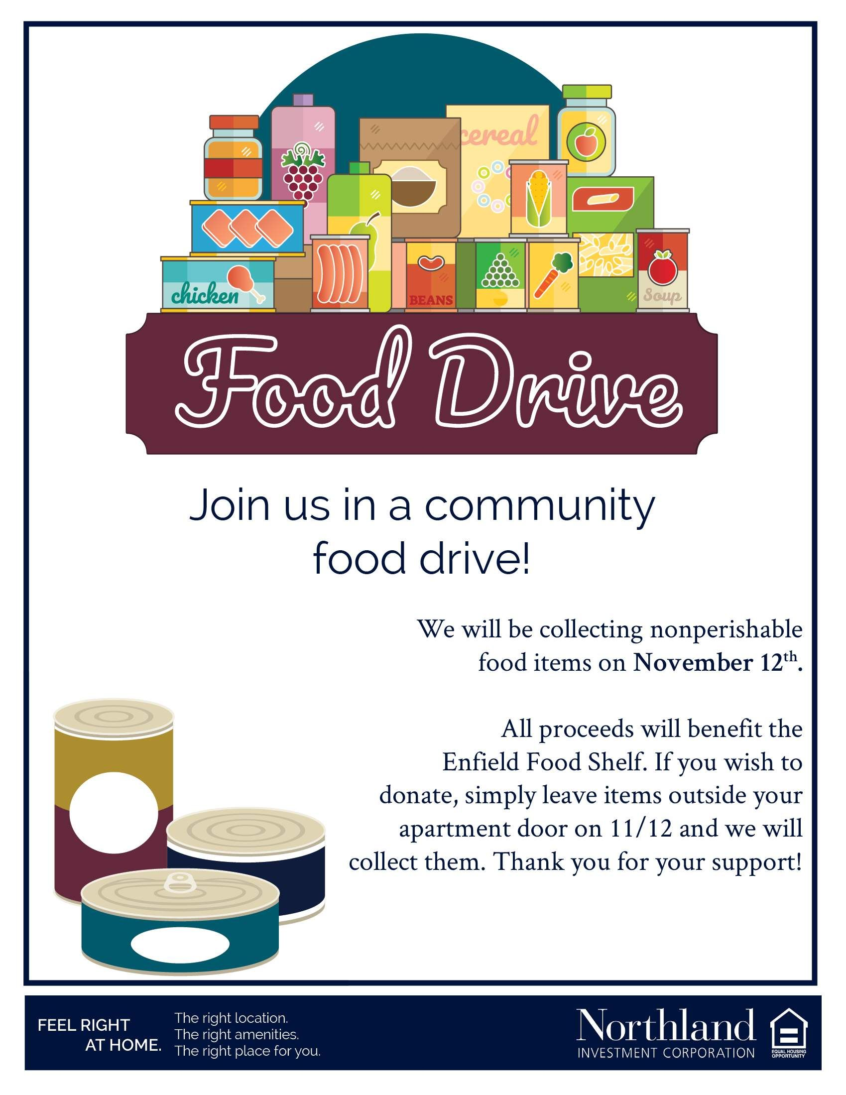 Please Join Us In The Bigelow Community Food Drive We Will Be Collecting Nonperishable Food Items On Novemb Food Drive Non Perishable Food Items Food Shelf