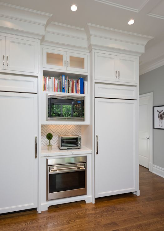 Lovely Kitchen Features A Built In Cookbook Shelf Stacked