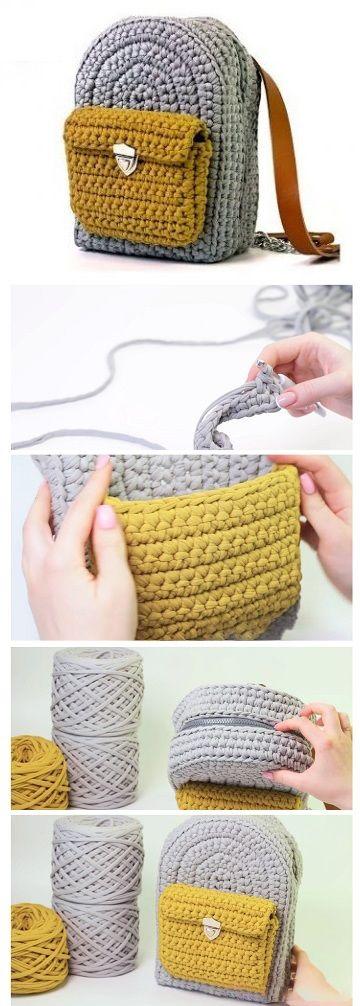 How to Crochet a Backpack | crochet | Pinterest | Bolsos, Trapillo y ...