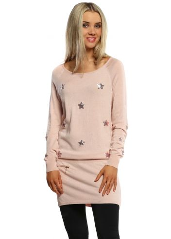5c41f9215 Designer Desirables Paris Star Baby Pink Sequinned Tunic Jumper ...