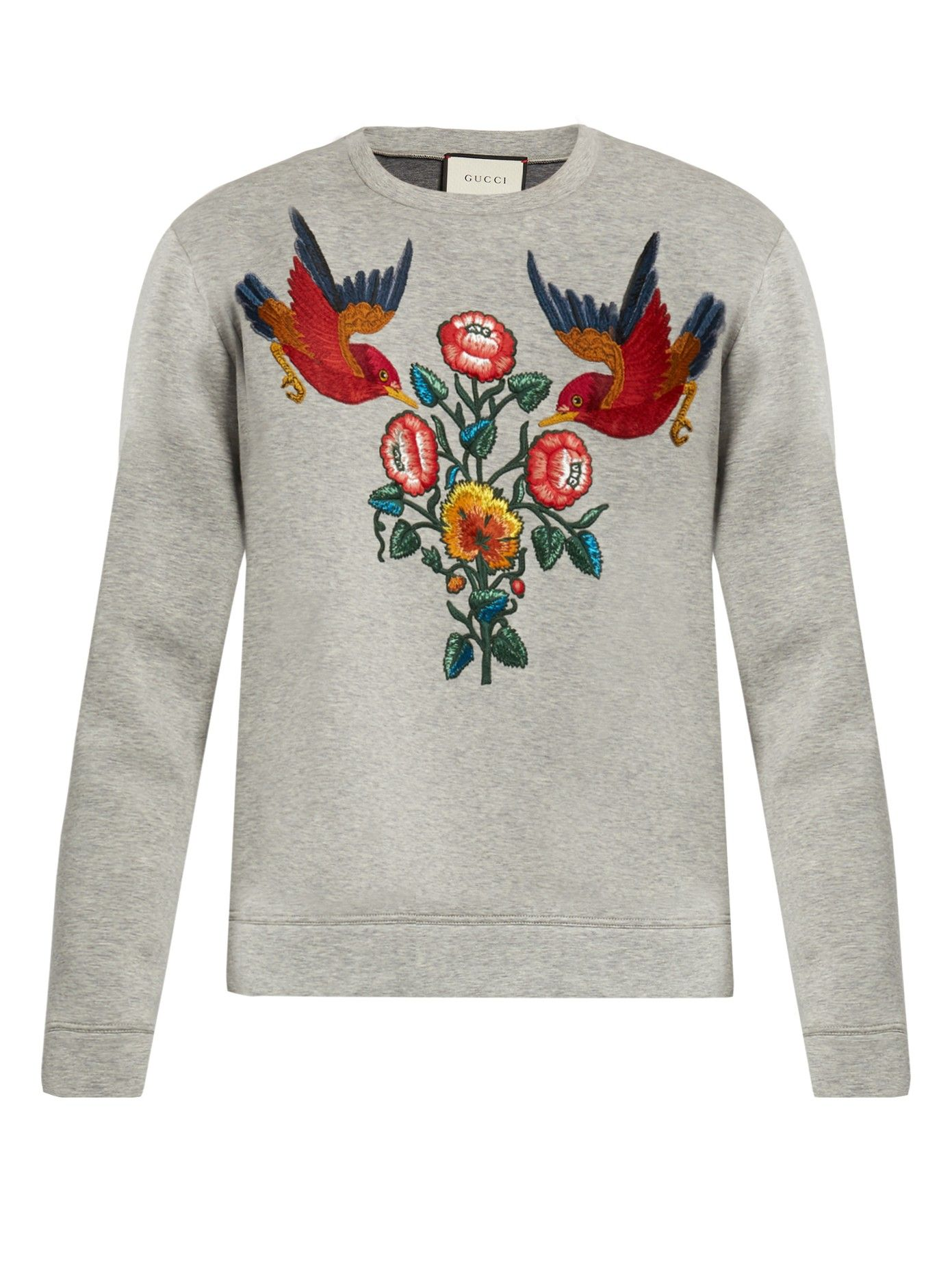 ba126d730 Bird and flower-appliqué cotton sweatshirt | Gucci | MATCHESFASHION.COM