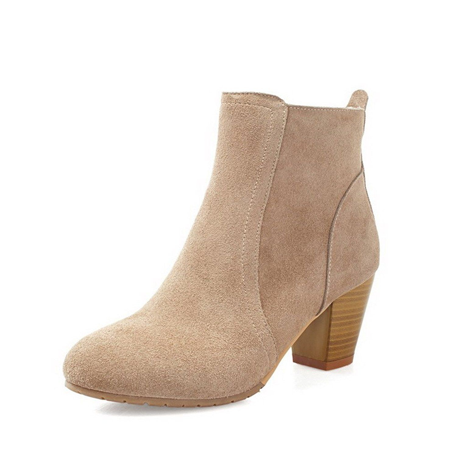 Women's Imitated Suede Frosted Round Closed Toe Low-top Kitten-heels Boots