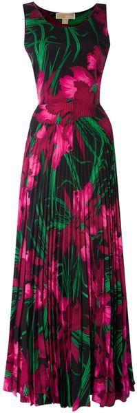 MICHAEL KORS Sleeveless Printed Maxi Dress with Belt -