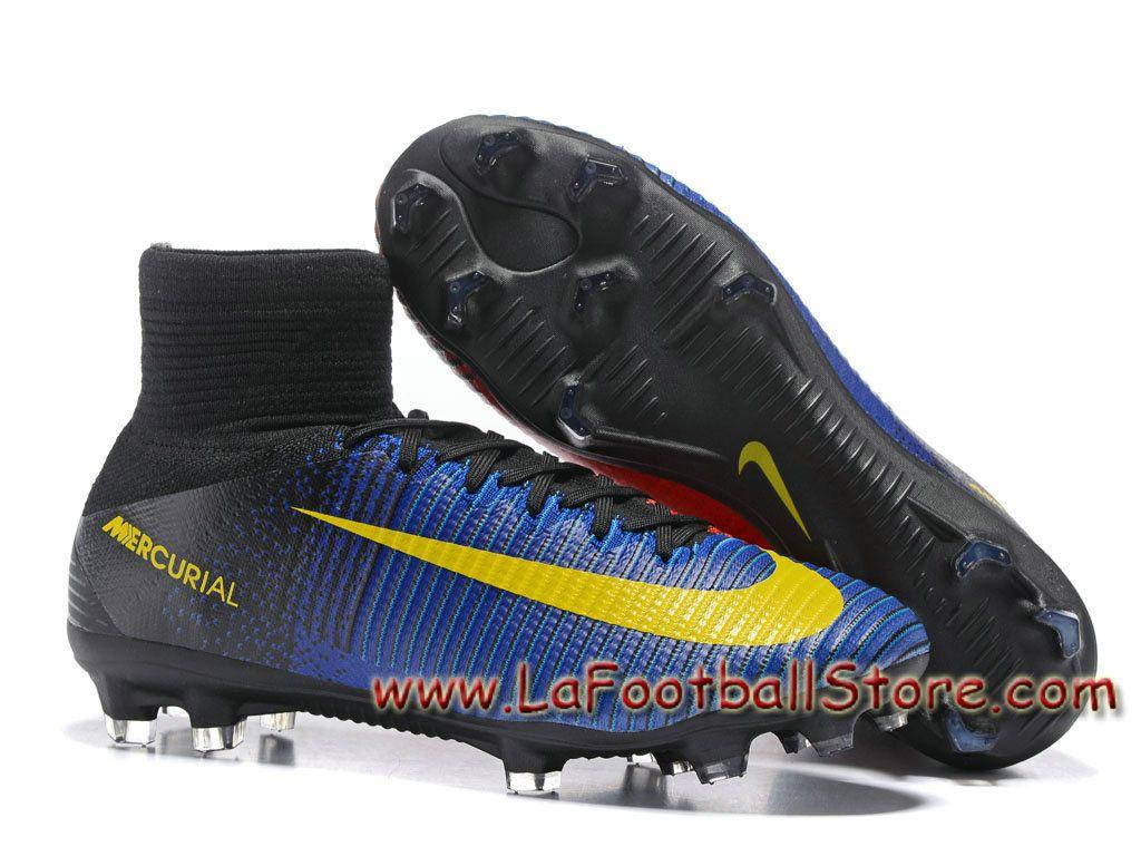 online store 55300 d8772 Nike Mercurial Superfly V FG Barcelona Chaussure Officiel NIke de football  à crampons pour terrain sec pour Homme Bleu/Rouge