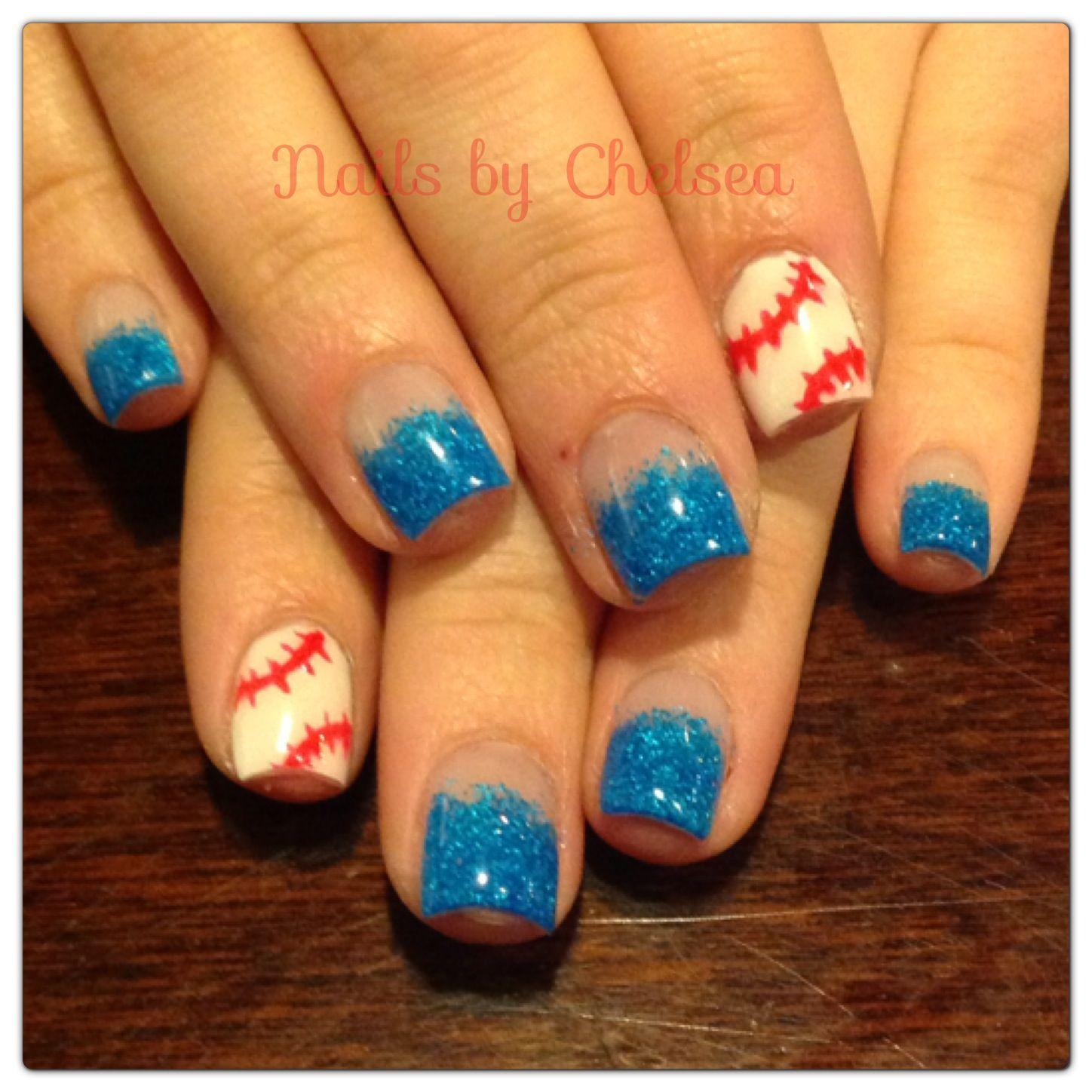 Baseball & blue neon gel nails by @Chelsea Devine | Nails by Chelsea ...