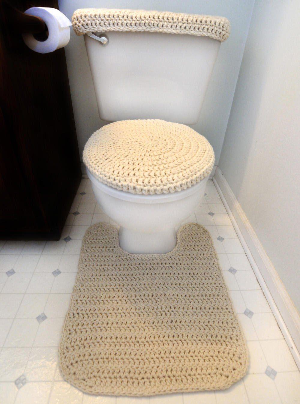Toilet Cover Set And Contour Rug Pdf Crochet Pattern Instant