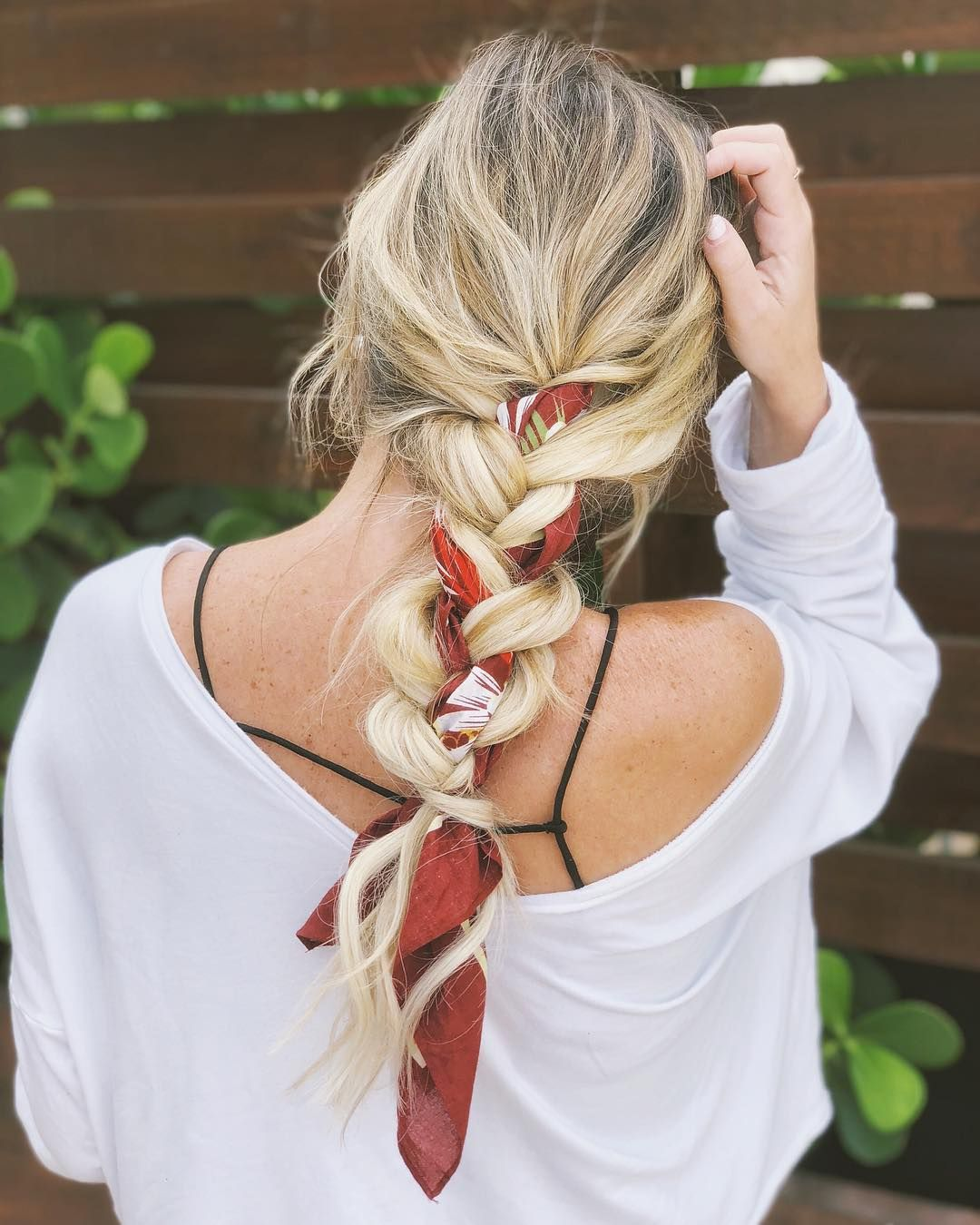 Pretty simple braids with scarf