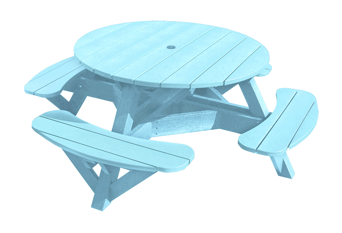 """C.R. Plastic Products T50 Round Picnic Table, 51"""" Diameter - Color Frame"""