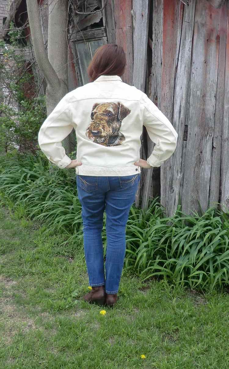 Cream Colored Levi Jean Jacket With Airedale by PaisleyPurveyor, $35.00