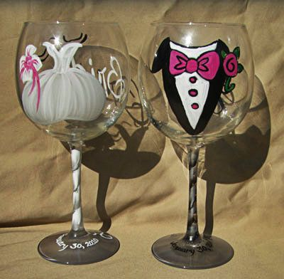 Hand Painted Bride Groom Wine Gles Personalized For Your
