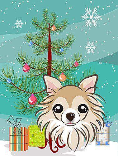 Caroline\u0027s Treasures BB1623CHF Christmas Tree and Chihuahua Canvas
