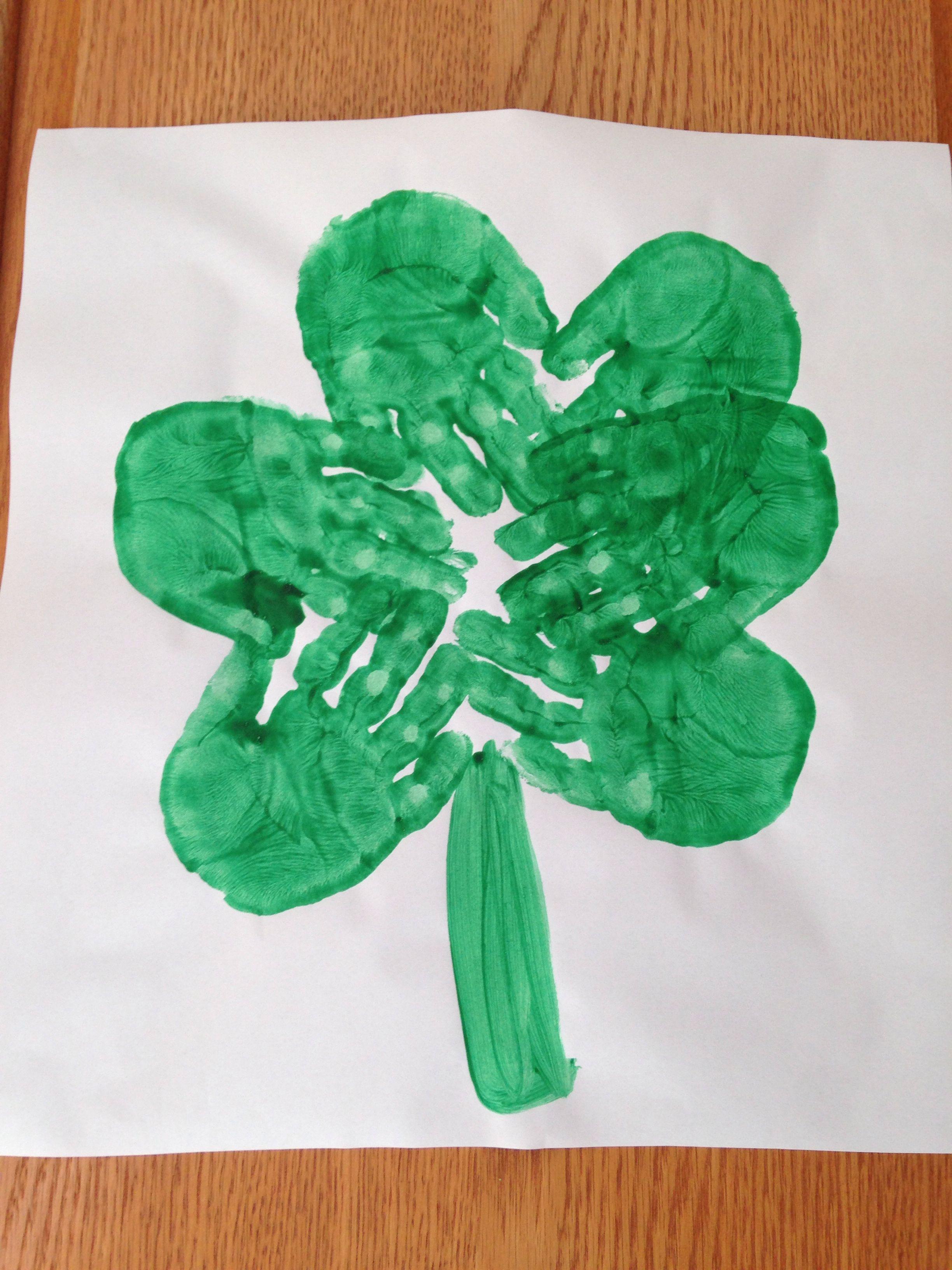 Handprint Shamrock Craft St Patrick S Day Craft Preschool