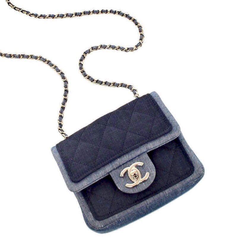 eee497a0f7d9 chanel small two tone denim crossbody bag measures 6.5 x 5 x 2.5