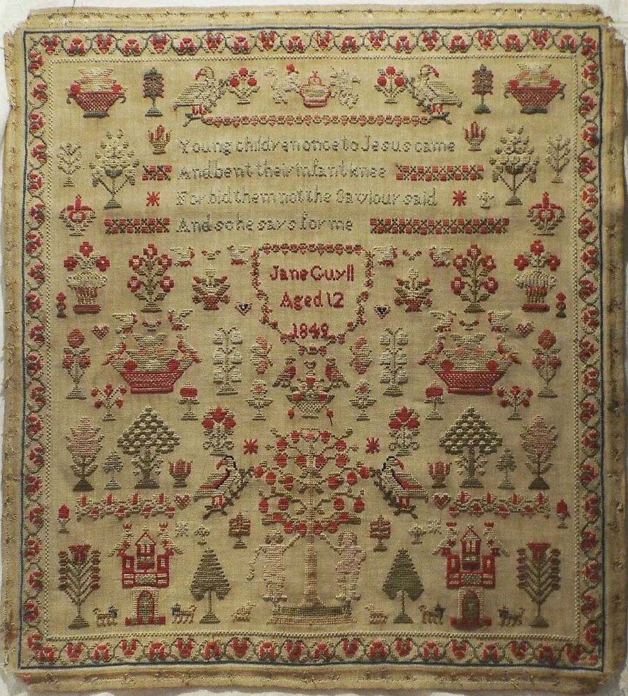 early 19th century adam eve sampler by jane guyll 1849 stitchery pinterest rahmen. Black Bedroom Furniture Sets. Home Design Ideas
