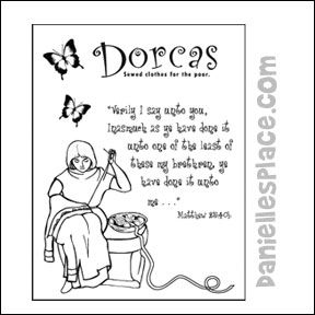 Dorcas Sewing Coloring Sheet for Children's Ministry