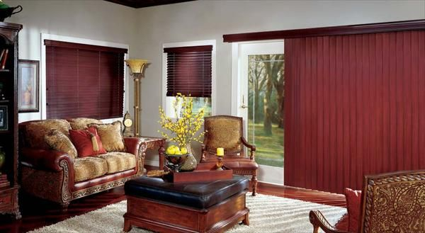 Dark Colored Matching Venetian Blinds And Vertical Blinds For