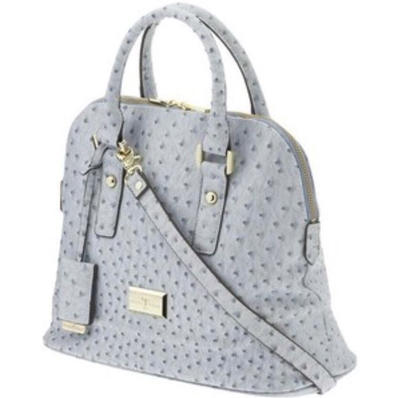Ivanka Trump Ava Dome Satchel Ostrich-Faux Leather This is a Brand New without tags Ivanka Trunp Ava Statchel. It's a super cute light blue color with the ostrich embossed vegan leather style. Ivanka Trump Bags Satchels