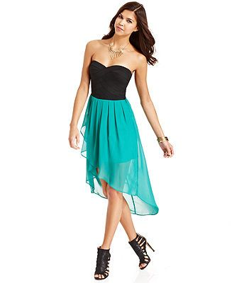 WishesWishesWishes Juniors Dress, Strapless Banded Pleated High-Low - Juniors Dresses - Macy's