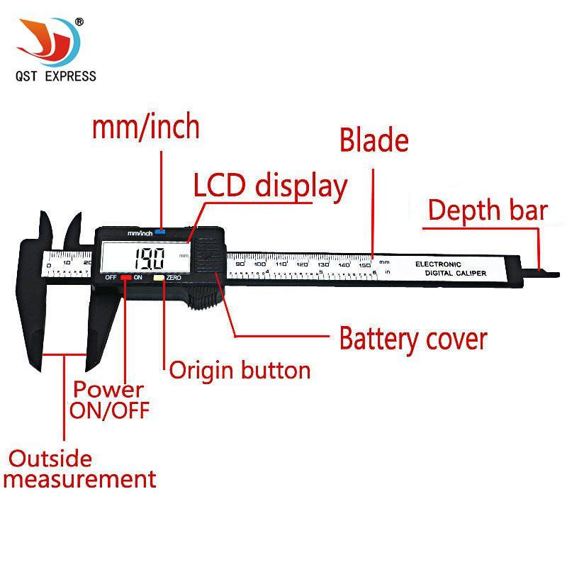 "150mm//6/"" LCD Digital Electronic Carbon Fiber Vernier Caliper Gauge Micrometer US"