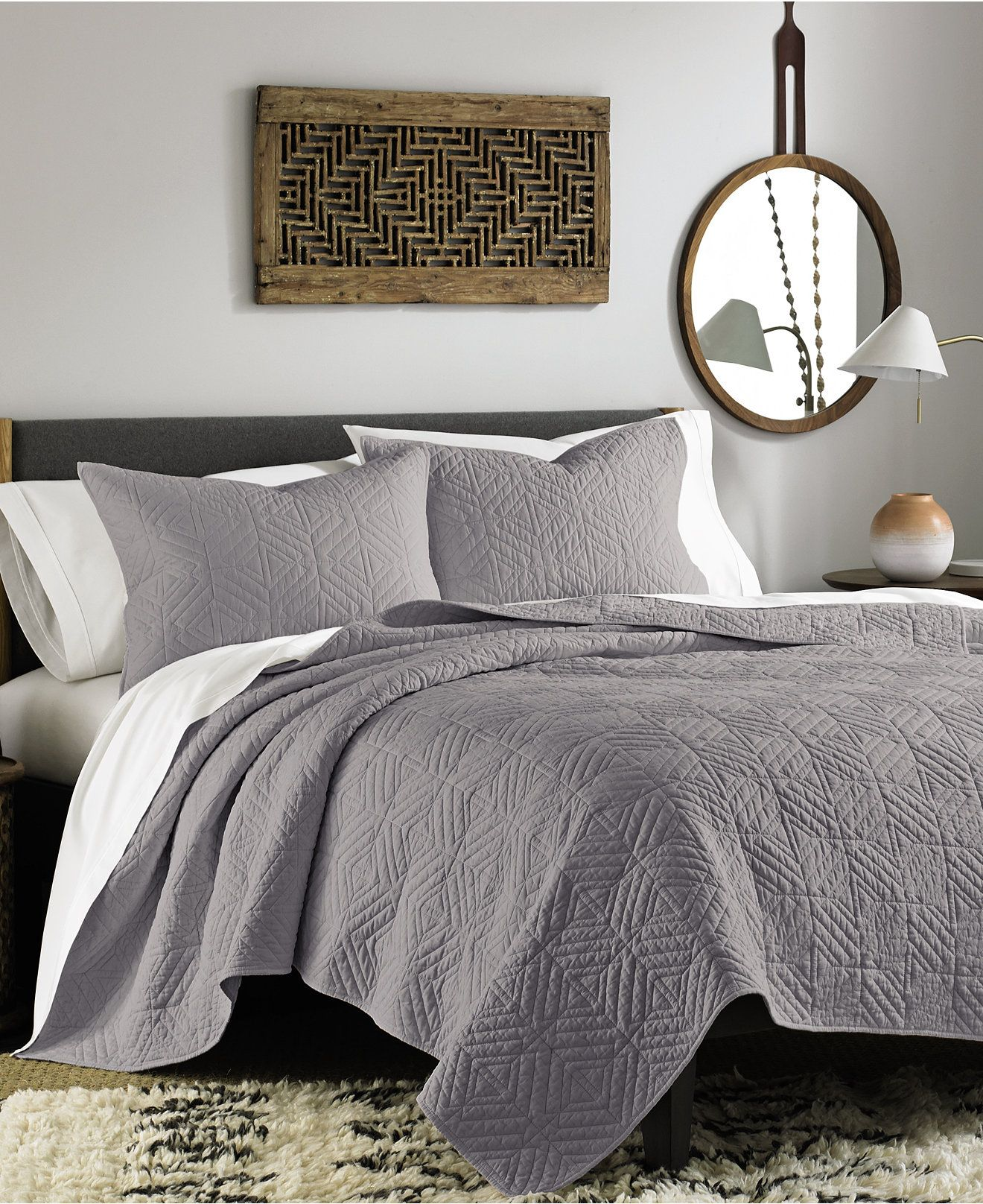 Closeout Bar Iii Interlock Grey Quilt Collection Quilts