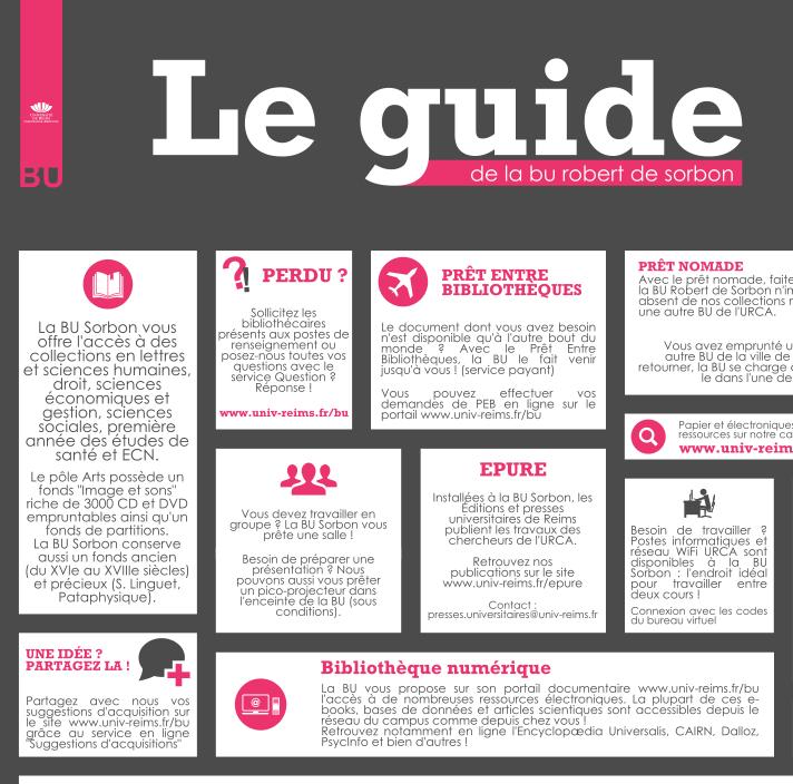 Guide du lecteur de la Bibliothque universitaire Robert de Sorbon