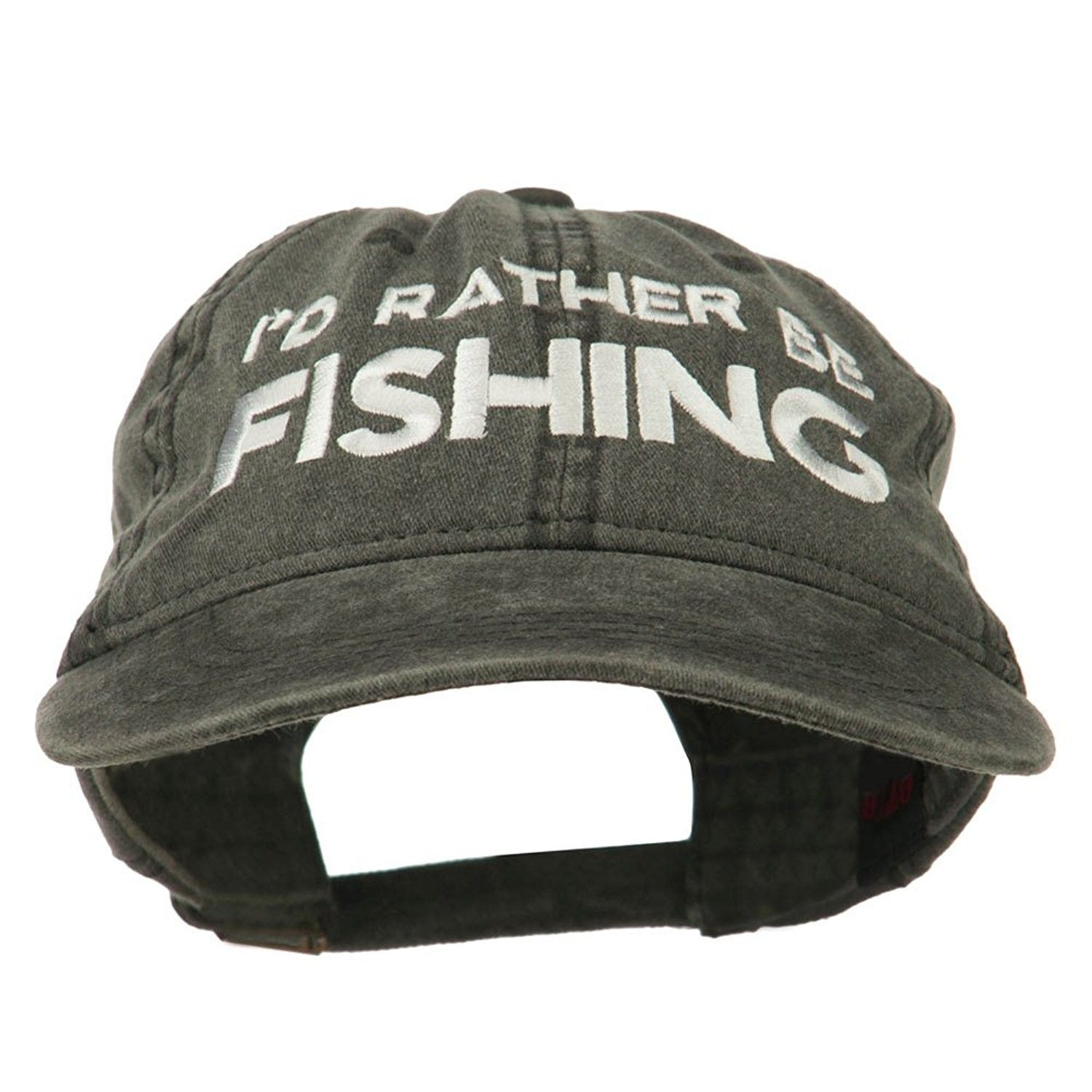 7ea93c7ad7d I d Rather Be Fishing Embroidered Washed Cotton Cap - Black - C211ONYVYUV -  Hats   Caps