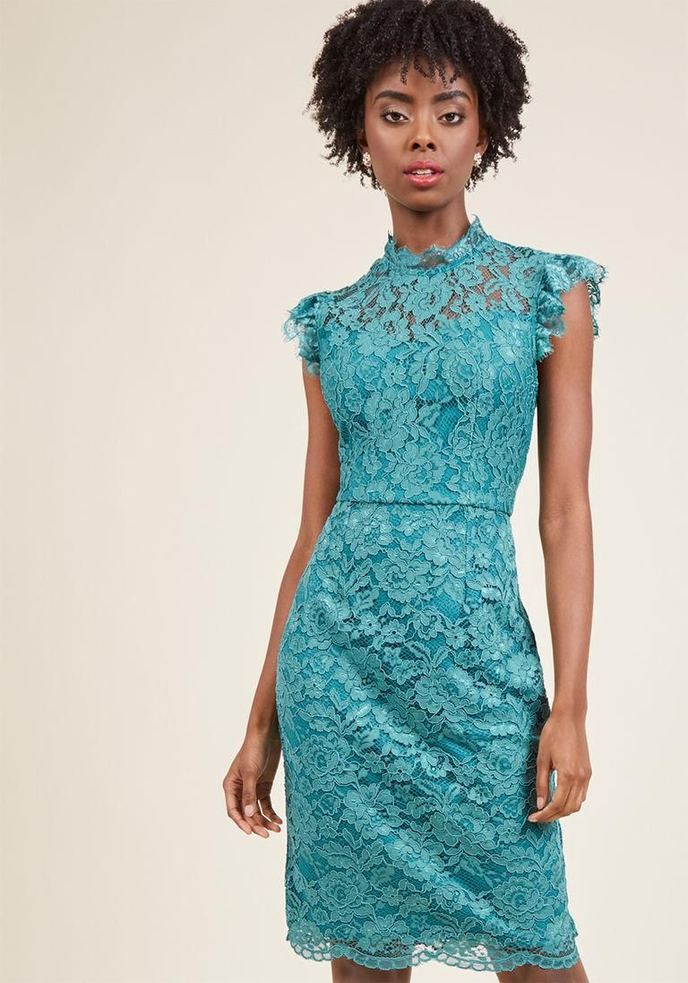 AdoreWe #ModCloth ModCloth Mock Neck Lace Sheath Dress in Jade in XL ...