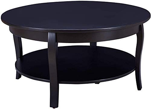 Best Buy Benjara Black Transitional Round Wooden Coffee Table 640 x 480