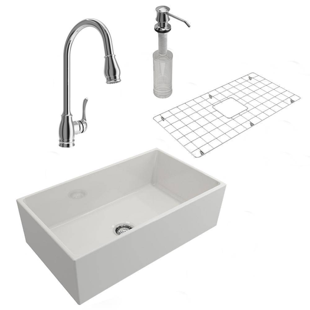 Bocchi Contempo 36 Fireclay Farmhouse Sink White W Faucet All In One In 2020 Fireclay Farmhouse Sink Farmhouse Sink Sink