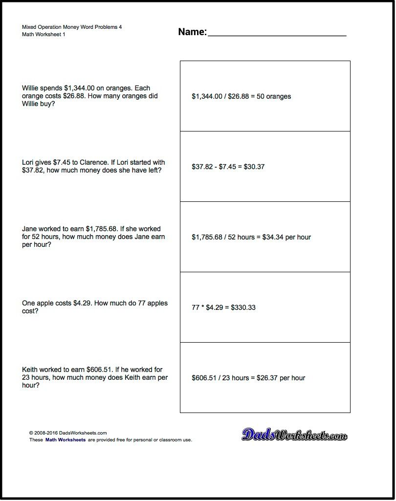 Worksheets Basic Math Word Problems Worksheets money word problems for mixed operation 4 math worksheets 4
