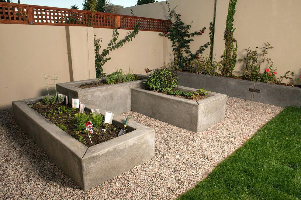 Concrete Raised Garden Bed Poured Concrete Raised Beds Landscape Modern With Raised Vegetable Flower Garden Design Raised Garden Beds Diy Raised Garden Beds